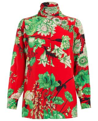 Floral printed silk shirt with necktie GUCCI