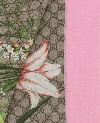 Foulard en modal et soie imprimé bouquet GG GUCCI