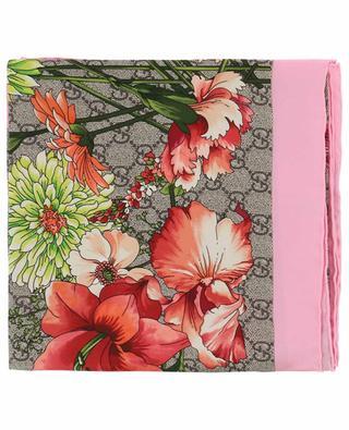 Foulard en soie imprimé bouquet GG GUCCI