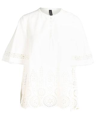 Openwork stitching adorned cotton blouse MARC CAIN