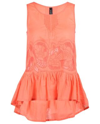 Sleeveless embroidered cototn top with peplum MARC CAIN