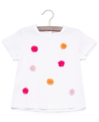 Cotton T-shirt with pompons IL GUFO