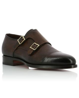 Textured leather monk strap brogues SANTONI